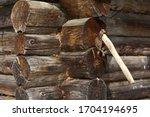 Close Up Of A Rusty Axe Stuck...