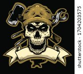 skull head blacksmith with... | Shutterstock .eps vector #1704203575