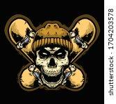 skull head with skate board... | Shutterstock .eps vector #1704203578