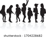 silhouettes of a children with... | Shutterstock .eps vector #1704228682