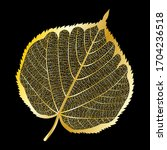 Golden Leaf Isolated. Vector...