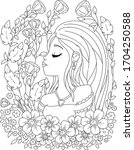 coloring book page for adult.... | Shutterstock .eps vector #1704250588