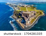 Small photo of Aerial view of Castillo San Felipe del Morro in Old San Juan, Puerto Rico. The fort, also referred to as El Morro, was designed to guard the entrance to San Juan Bay.