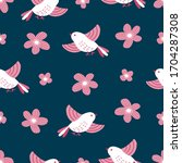 seamless hand drawn floral... | Shutterstock .eps vector #1704287308