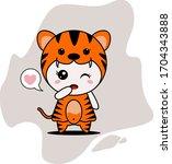 cute tiger character vector... | Shutterstock .eps vector #1704343888