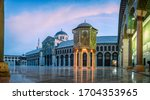 Small photo of Damascus / Syria - 02/03/2020 :Panoramic photo of the Great Mosque Of The Umayyads in Damascus / Syria located in the old city of Damascus. one of the largest and oldest mosques in the world.