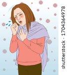 illustration of female coughing ...   Shutterstock .eps vector #1704364978