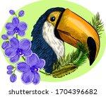 Head Bird Parrot Toucan Black...