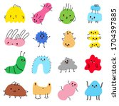 doodle tiny monsters set. cute... | Shutterstock .eps vector #1704397885