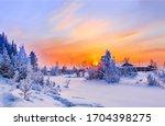 Sunset Winter Snow Rural...
