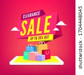 clearance sale 70 off percent... | Shutterstock .eps vector #1704448045
