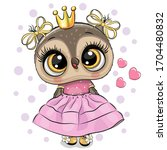 cute cartoon owl princess in a... | Shutterstock .eps vector #1704480832