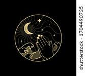 Prayer Hand With Crescent Moon...