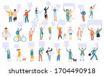 set of protesting people...   Shutterstock .eps vector #1704490918