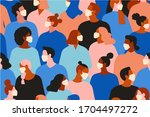 people wearing medical mask all ... | Shutterstock . vector #1704497272