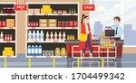 supermarket store counter... | Shutterstock .eps vector #1704499342