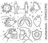 doodle of coronavirus... | Shutterstock .eps vector #1704521992