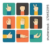 hands icons set  flat design... | Shutterstock .eps vector #170452595