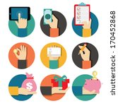 hands with object icons set ... | Shutterstock .eps vector #170452868