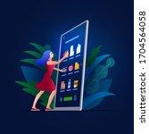 online shopping on smart phone  ... | Shutterstock .eps vector #1704564058