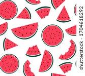 watermelon seamless pattern...   Shutterstock .eps vector #1704618292