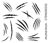 Claws Scratches Icons Vector...