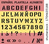 Vector Spanish Stencil Alphabet ...