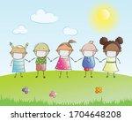kids wearing protective medical ... | Shutterstock .eps vector #1704648208