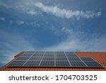 Solar Panels On The Blue Sky...
