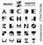 set of letter piano symbol logo ... | Shutterstock .eps vector #1704734188