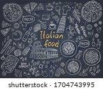set of italian cuisine food on...   Shutterstock .eps vector #1704743995