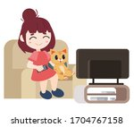 the character of girl and cat... | Shutterstock .eps vector #1704767158