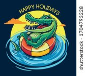 crocodile relaxed in the water... | Shutterstock .eps vector #1704793228