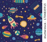 colorful cartoon space...   Shutterstock .eps vector #1704835915
