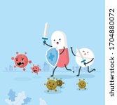 pills holding shield and sword... | Shutterstock .eps vector #1704880072