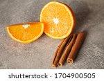 Fresh Orange With Cinnamon On A ...