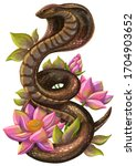 Cobra Snake With Lotus Flowers  ...