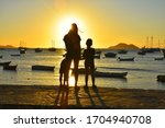 Family Port Sunset Sea Children