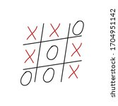 hand drawn tic tac toe game.... | Shutterstock .eps vector #1704951142