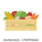 vegetables in wooden box. fresh ... | Shutterstock .eps vector #1704956662