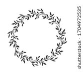 hand drawn floral oval frame... | Shutterstock .eps vector #1704972535