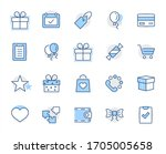 set of gifts  vector line icons.... | Shutterstock .eps vector #1705005658