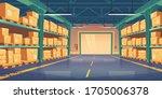 warehouse interior  logistics ... | Shutterstock .eps vector #1705006378