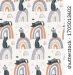 vector seamless pattern with... | Shutterstock .eps vector #1705013602