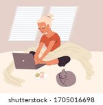 woman sitting on the bad or on... | Shutterstock .eps vector #1705016698
