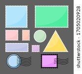 set of blank postage stamps in... | Shutterstock .eps vector #1705020928