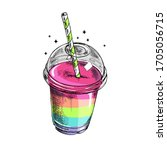 plastic cup with a rainbow... | Shutterstock .eps vector #1705056715