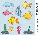 funny fish doodle drawing.... | Shutterstock .eps vector #1705105492