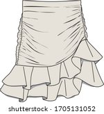 skirt  fashion flat sketch ...   Shutterstock .eps vector #1705131052