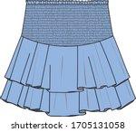 skirt  fashion flat sketch ...   Shutterstock .eps vector #1705131058